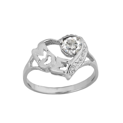 "White   Gold Personalized ""Mom"" Solitaire  Open Heart Ring With CZ Birthstone"