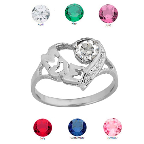 """White   Gold Personalized """"Mom"""" Solitaire  Open Heart Ring With CZ Birthstone"""
