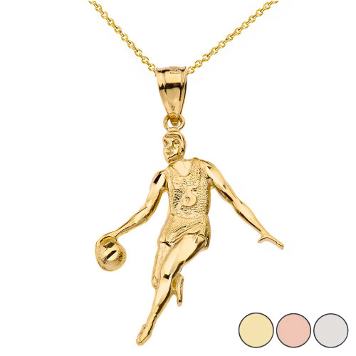 Sparkle Cut Basketball Player Pendant Necklace in Solid Gold (Yellow/Rose/White)