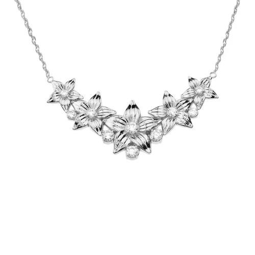 14K Elegant Cubic Zirconia Flower Necklace in White Gold