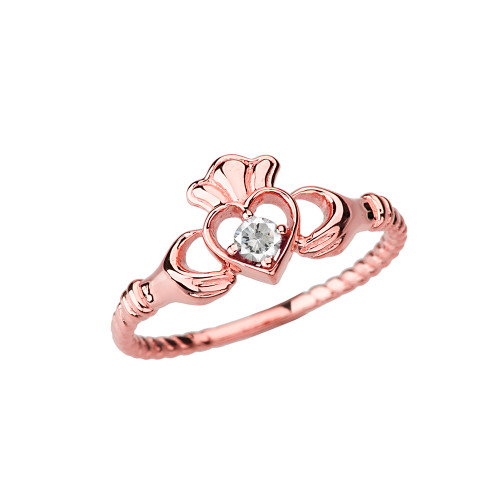 Rose Gold Diamond Solitaire & Promise Open Heart  Rope Claddagh Ring