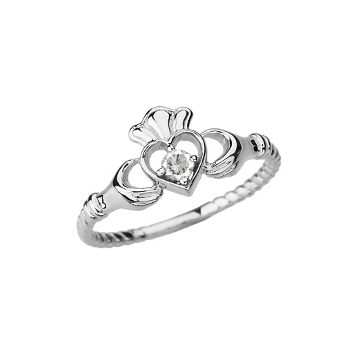 White Gold Diamond Solitaire & Promise  Open Heart  Rope Claddagh Ring