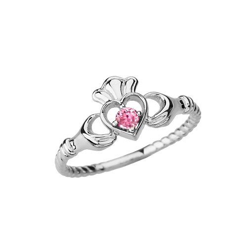 White Gold Pink Solitaire & Promise  Open Heart Rope Claddagh Ring