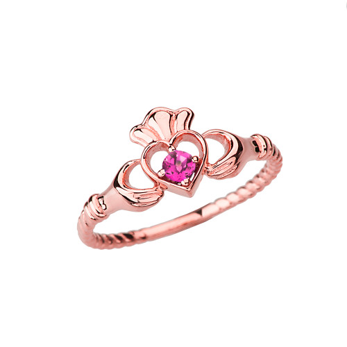 Rose Gold Lab Created Alexandrite  Solitaire & Promise  Open Heart Rope Claddagh Ring