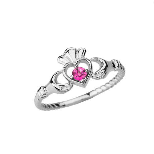 White Gold Lab Created Alexandrite Solitaire & Promise  Open Heart Rope Claddagh Ring