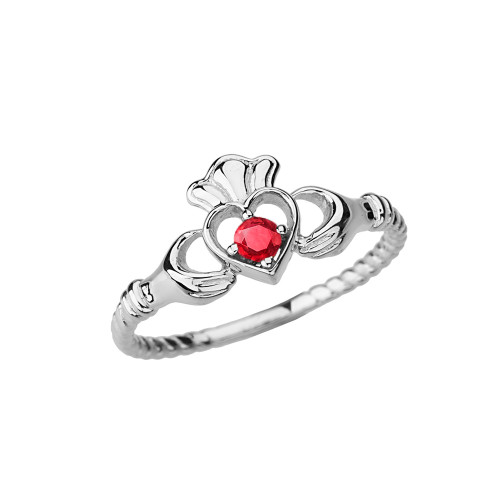 White  Gold Genuine Ruby Solitaire & Promise  Open Heart Rope Claddagh Ring