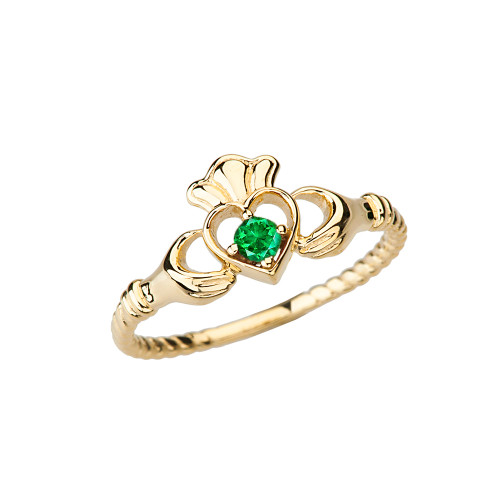 Yellow Gold Genuine Emerald Solitaire & Promise  Open Heart Rope Claddagh Ring
