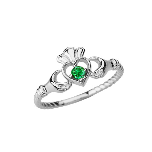 White Gold Genuine Emerald Solitaire & Promise  Open Heart Rope Claddagh Ring