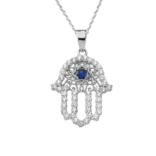 Chic Diamond & Blue Sapphire Hamsa Pendant Necklace in White Gold
