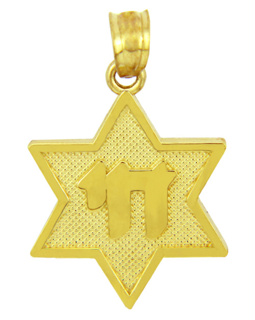 Jewish Charms and Pendants - Star of David with Chai Yellow Gold Pendant