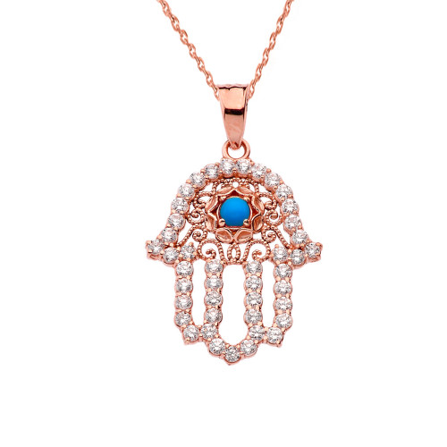 Chic Turquoise Hamsa Pendant Necklace in Rose Gold