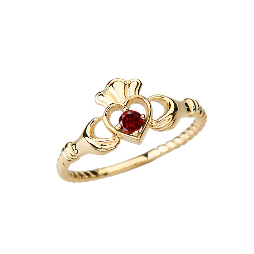 Yellow Gold Genuine Garnet Solitaire & Promise Open Heart Rope Claddagh Ring