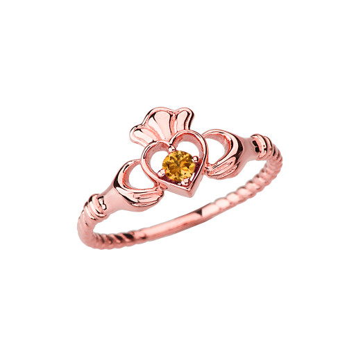 Rose Gold Genuine Citrine Solitaire & Promise Open Heart Rope Claddagh Ring