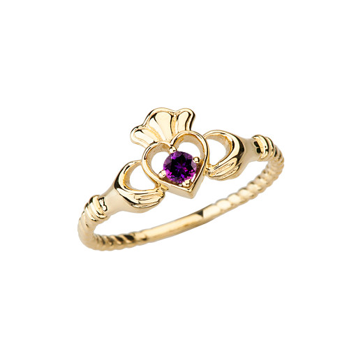 Yellow Gold Genuine Amethyst Solitaire & Promise Open Heart Rope Claddagh Ring