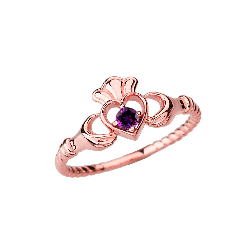 Rose Gold Genuine Amethyst Solitaire & Promise Open Heart Rope Claddagh Ring