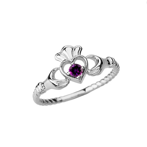 White  Gold Genuine Amethyst Solitaire & Promise Open Heart Rope Claddagh Ring