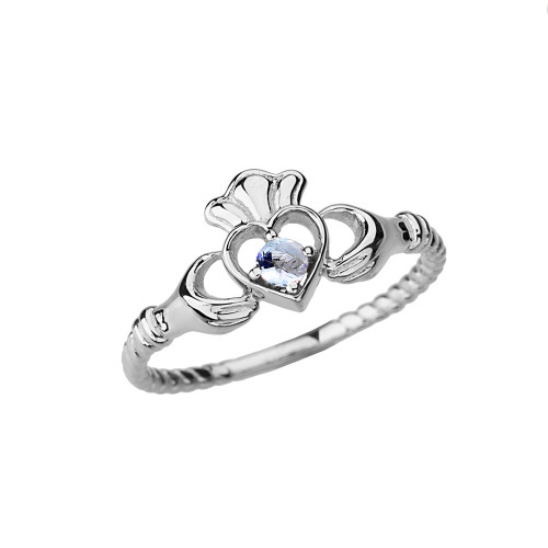 White  Gold Genuine Aquamarine Solitaire & Promise Open Heart Rope Claddagh Ring
