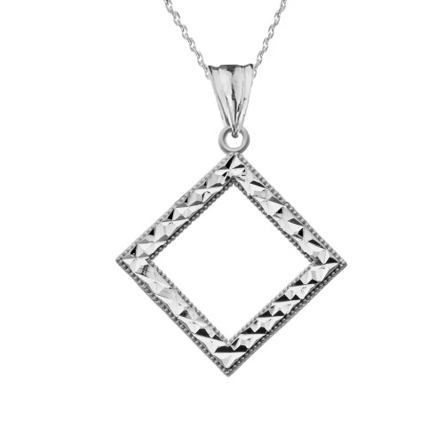 Chic Diamond Shape Pendant Necklace in Sterling Silver