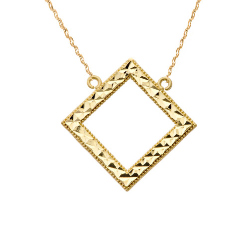 Chic Diamond Shape Necklace in 14K Yellow Gold