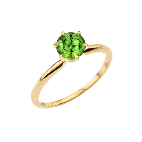 Yellow Gold Peridot Dainty Solitaire Engagement Ring