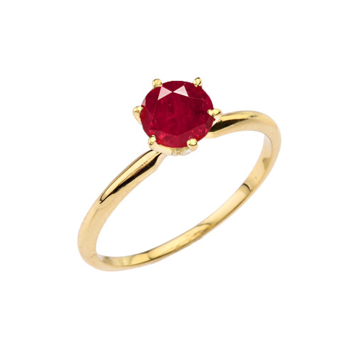 Yellow Gold (LCR)  Ruby  Dainty Solitaire Engagement Ring