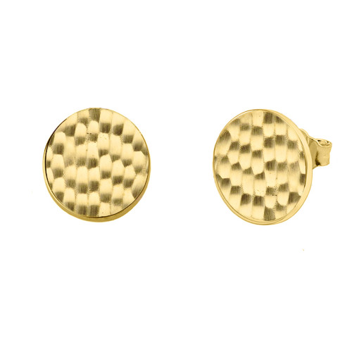 Yellow Gold Hammered Round Stud Earrings