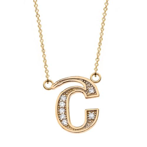 "14K Solid Yellow Gold Armenian Alphabet Diamond Initial ""Sh"" Necklace"