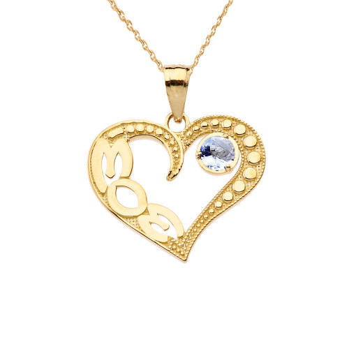 March Aquamarine (LC) 'MOM' Heart Pendant Necklace in Yellow Gold