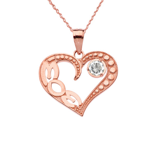 April Clear CZ 'MOM' Heart Pendant Necklace in Rose Gold