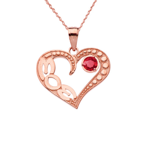 July Ruby (LC)  'MOM' Heart Pendant Necklace in Rose Gold