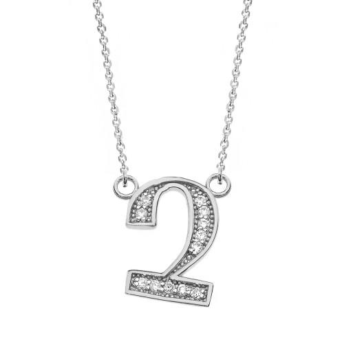 "14K Solid White Gold Armenian Alphabet Diamond Initial ""Chu"" Necklace"
