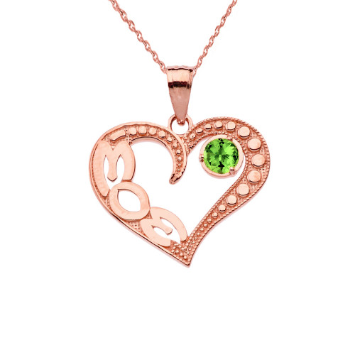 August Peridot (LC) 'MOM' Heart Pendant Necklace in Rose Gold