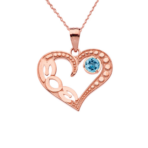 December Blue Topaz (LC) 'MOM' Heart Pendant Necklace in Rose Gold