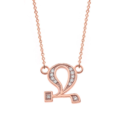 """14K Solid Rose Gold Armenian Alphabet Diamond Initial """"Jh"""" or  """"B"""" Necklace"""