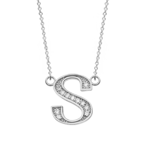 """14K Solid White Gold Armenian Alphabet Diamond Initial """"T"""" or """"D"""" Necklace"""