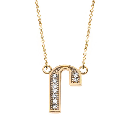 "14K Solid Yellow Gold Armenian Alphabet Diamond Initial ""Ru"" Necklace"