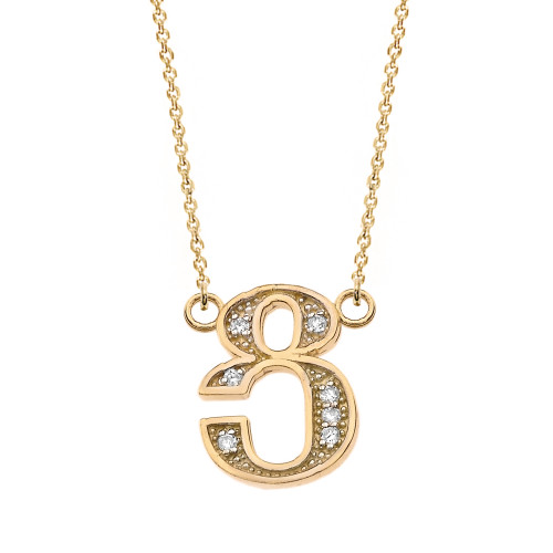 "14K Solid Yellow Gold Armenian Alphabet Diamond Initial ""Tsu"" Necklace"