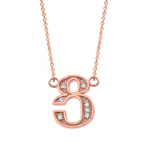 "14K Solid Rose Gold Armenian Alphabet Diamond Initial ""Tsu"" Necklace"