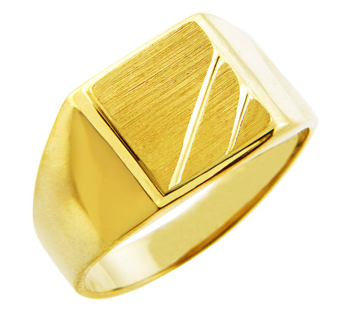 Men's Gold Signet Rings - The Phoebus Solid Gold Signet Ring