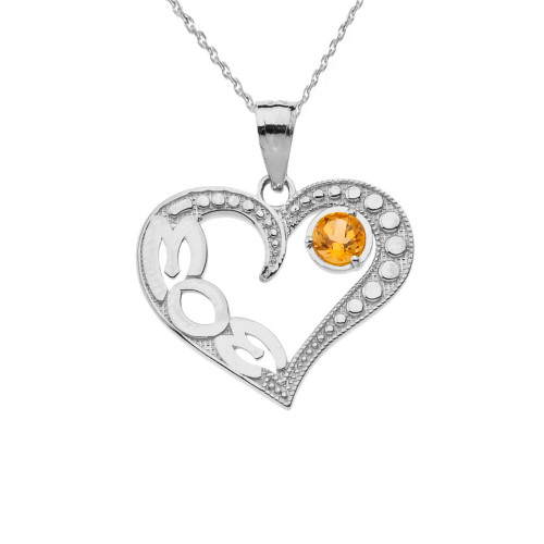 November Citrine (LC) 'MOM' Heart Pendant Necklace in Sterling Silver