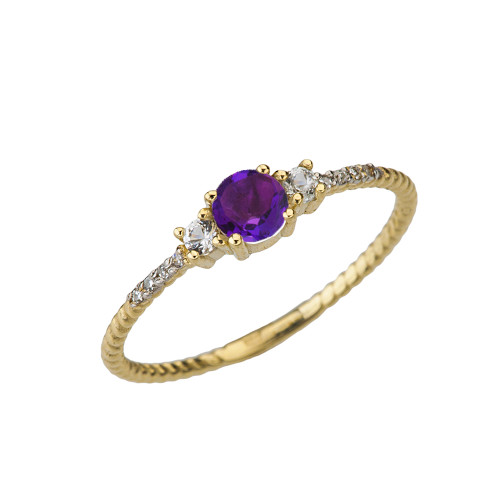 Dainty Elegant Amethyst and Diamond Rope Ring in Yellow Gold