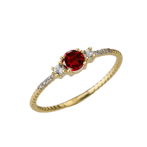 Dainty Elegant Garnet and Diamond Rope Ring in Yellow Gold