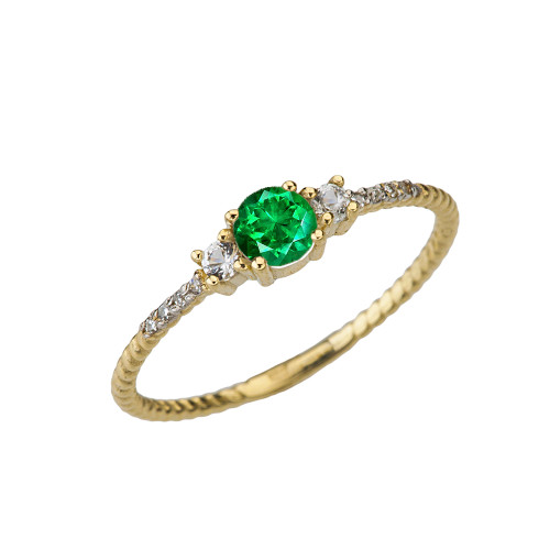 Dainty Elegant Emerald and Diamond Rope Ring in Yellow Gold