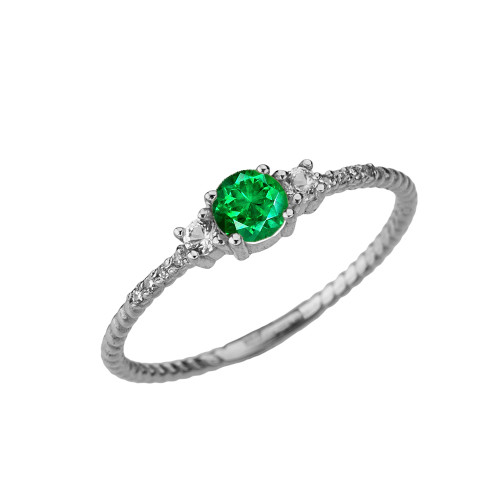 Dainty Elegant Emerald and Diamond Rope Ring in White Gold