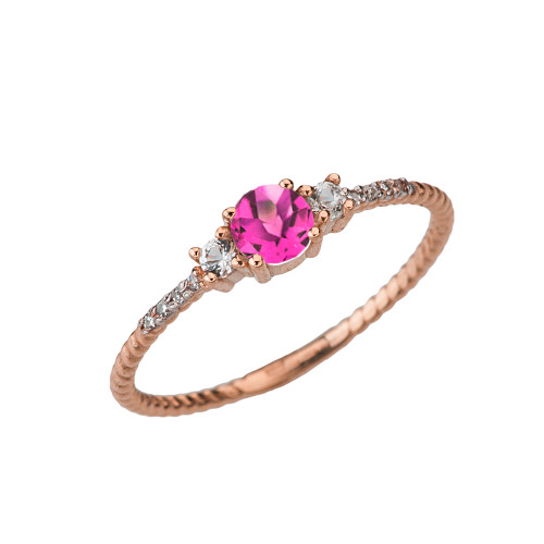 Dainty Elegant Alexandrite (LC) and Diamond Rope Ring in Rose Gold