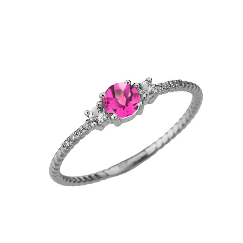 Dainty Elegant Alexandrite (LC) and Diamond Rope Ring in White Gold