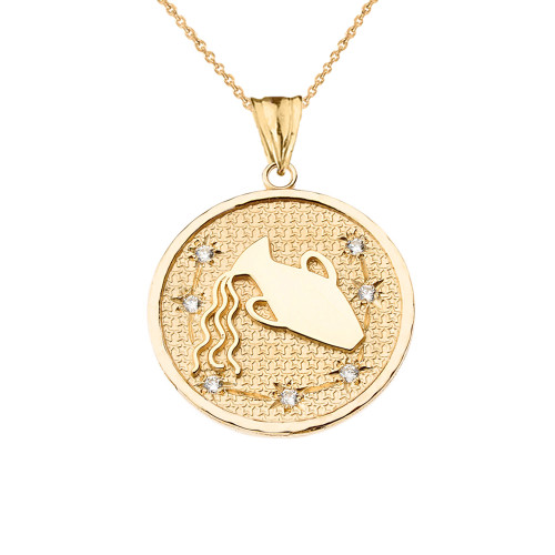 Designer Diamond Aquarius Constellation Pendant Necklace in Yellow Gold