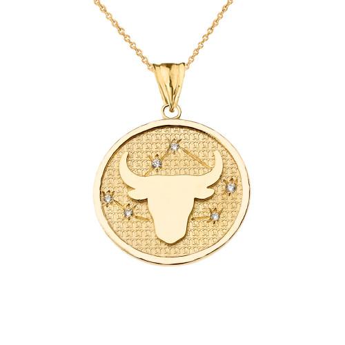 Designer Diamond Taurus Constellation Pendant Necklace in Yellow Gold