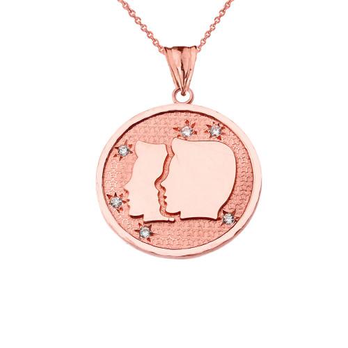 Designer Diamond Gemini Constellation Pendant Necklace in Rose Gold