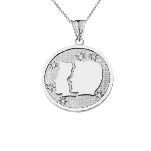 Designer Diamond Gemini Constellation Pendant Necklace in White Gold